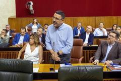 El hasta ahora portavoz del PSOE en el Parlamento, Mario Jiménez, junto a Susana Díaz.