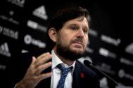 El director general del Valencia, Mateu Alemany, en una comparcencia reciente.