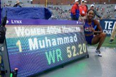 Dalilah Muhammad, tras batir el récord.