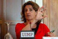 La ministra en funciones para la Transición Ecológica, María Teresa Ribera, durante su participación en el curso la UIMP