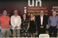 Participantes de la reunión preparatoria de los encuentros presidida por el rector de la UNIA.