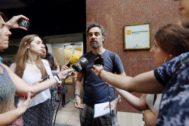 Antonio Moreno 29.07.2019 Barcelona Cataluña .Santiago Mas portavoz de <HIT>PAH</HIT> despues de la reunion con las administraciones en la Agencia de l Habitatge de Cataluña.