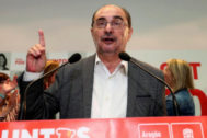 Javier Lambán durante una comparecencia.
