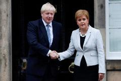 El premier británico, Boris, Johnson, de visita en Escocia.