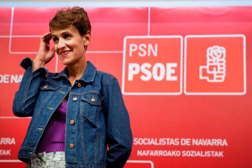 La líder del PSN, María Chivite, durante un acto en la sede del...