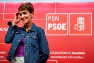 La líder del PSN, María Chivite, durante un acto en la sede del partido.