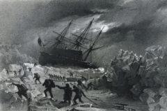 Grabado de la a tripulación del 'HMS Terror' atrapada en el hielo.