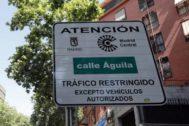 Cartel de acceso a Madrid Central.