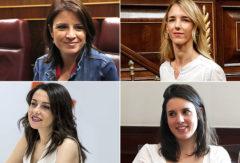 De izq. a dcha. y de arriba abajo: Adriana Lastra (PSOE), Cayetana Álvarez de Toledo (PP), Inés Arrimadas (Ciudadanos) e Irene Montero (Unidas Podemos).