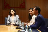 Ayuso (PP), Monasterio (Vox) y Aguado (Cs), en una reunión.