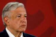 FILE PHOTO: Mexico's President Andres Manuel Lopez <HIT>Obrador</HIT> attends a news conference at the National Palace in Mexico City