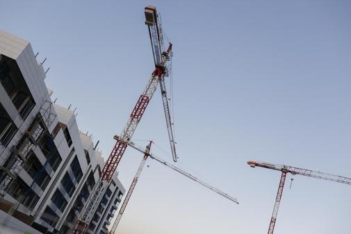 Construcción de un bloque de viviendas en Madrid.