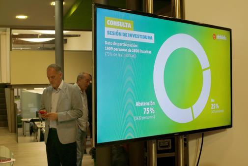 Adolfo Araiz, diputado de EH Bildu, ayer, tras presentar el resultado...