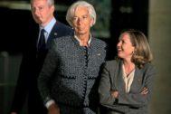La todavía directora gerente del FMI, Christine Lagarde, y la ministra de Economía, Nadia Calviño