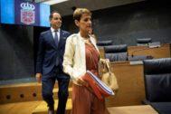 María Chivite, ayer, durante el debate de investidura en el Parlamento Foral.