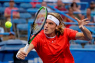 Washington (United States), 31/07/2019.- Stefanos <HIT>Tsitsipas</HIT> of Greece in action against Tommy Paul of the USA during the Citi Open tennis tournament at Rock Creek Park Tennis Center in Washington, DC, USA, 31 July 2019. (Tenis, Abierto, Grecia, Estados Unidos) EPA/