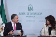 El consejero de Presidencia, Elías Bendodo, y la consejera de Igualdad, Rocío Ruiz.