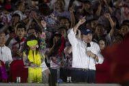 AME8206. MANAGUA (NICARAGUA), 19/07/2019.- El presidente de Nicaragua, <HIT>Daniel</HIT> <HIT>Ortega</HIT> (d), y la vicepresidenta, Rosario Murillo (i), participan este viernes a la conmemoración del 40 aniversario de la Revolución Popular Sandinista, en la Plaza de la Fe, en Managua (Nicaragua).