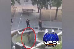 La espectacular acción de un policía para reducir a un hombre armado con un machete