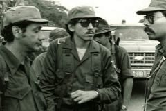 Izq-Der: Victor Tirado, Humberto Ortega y Daniel Ortega, 1979