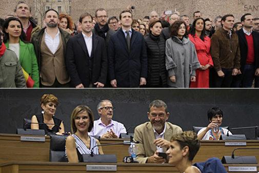 Arriba, los líderes de PP, Ciudadanos y Vox en la foto de Colón del...