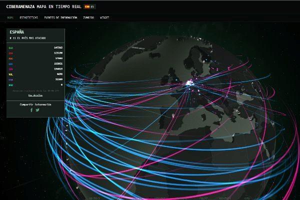 Mapa de la empresa de seguridad Kaspersky que muestra en tiempo real distintos tipos  de ciberataques.