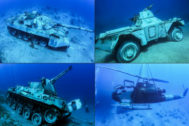 Algunos de los artefactos militares sumergidos aguas de Aqaba (Jordania).