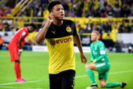 <HIT>Dortmund</HIT> (Germany).- <HIT>Dortmund</HIT>'s Jadon Sancho celebrates after scoring the 2-0 lead during the German Supercup soccer match between <HIT>Borussia</HIT> <HIT>Dortmund</HIT> and FC Bayern Muenchen in <HIT>Dortmund</HIT>, Germany, 03 August 2019. (Alemania, Rusia) EPA/ CONDITIONS - ATTENTION: The DFL regulations prohibit any use of photographs as image sequences and/or quasi-video