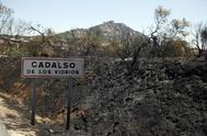 Imagen de la zona afectada por el fuego en Cadalso de los Vidrios.
