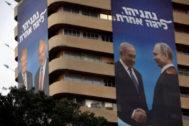 Vladimir Putin y Donald ITrump, en los carteles electorales de Benjamin Netanyahu.
