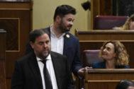Oriol Junqueras, durante la sesión constitutiva del Congreso, del 21 de mayo, a la que asistió con autorización judicial.