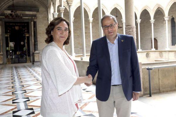 Ada Colau y el president Torra en un encuentro reciente.