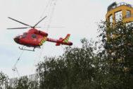 Un helicóptero trasladó al pequeño al hospital.