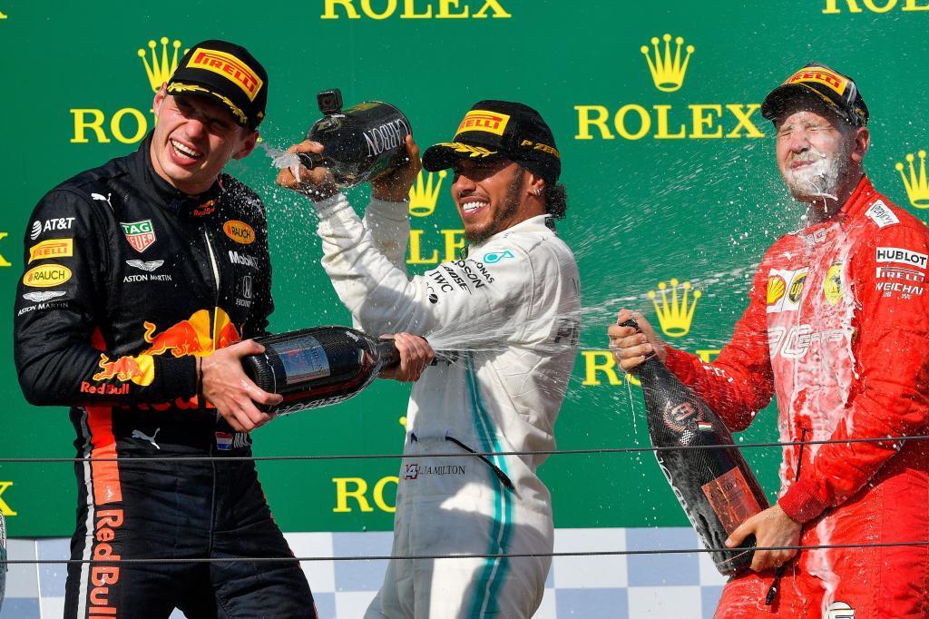 Mogyoród (Hungary).- Winner British Formula One driver Lewis...