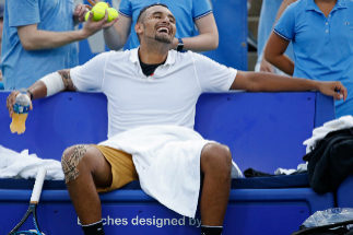 Aug 3, 2019; Washington, D.C., USA; Nick <HIT>Kyrgios</HIT> of Australia smiles in his playerÍs chair during a changeover against Stefanos Tsitsipas of Greece (not pictured) during a changeover in a menÍs singles semifinal of the 2019 Citi Open at William H.G. FitzGerald Tennis Center. Mandatory Credit: Geoff Burke-USA TODAY Sports