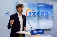 Pablo Montesinos, vicesecretario de Comunicación del PP, en rueda de prensa,