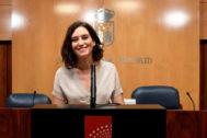 La candidata popular, Isabel Díaz Ayuso en la Asamblea.