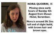 Un cartel con la foto de Nora que la familia ha compartido en redes sociales.