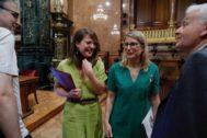 Janet Sanz y Elsa Artadi, hoy en el pleno del Ayuntamiento de Barcelona