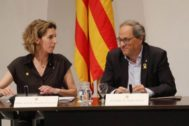 Antonio Moreno 15.07.2019.Barcelona Cataluña. El president. Q.Torra y consellera A. <HIT>Chacon</HIT> en la reunion con el Consell Catala de Empresa en el Palau.