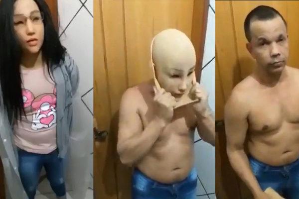 Clauvino da Silva de desprende de los accesorios con los que se disfrazó para tratar de burlar a los guardias de la prisión de Gericinó, en Brasil.