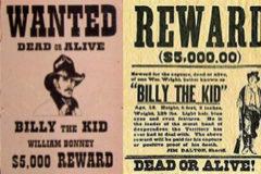 Carteles de recompensa de William H. Bonney, alias Billy el Niño.