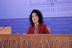La diputada de Podemos Andalucía, Maribel Mora, en una comparecencia en el Parlamento autonómico.
