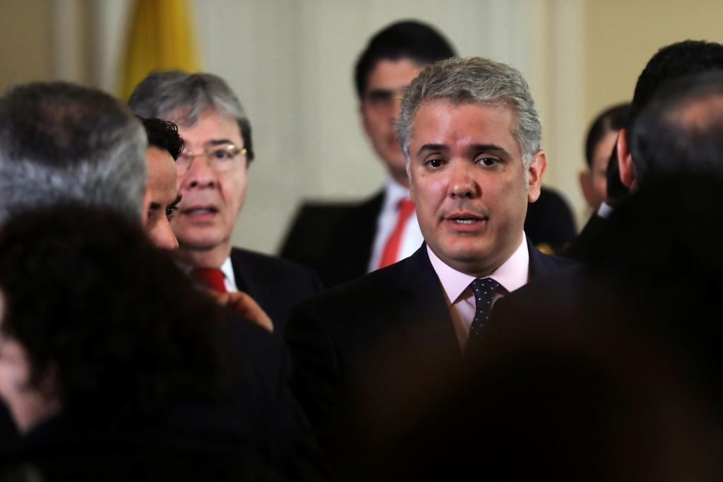 Colombia&apos;s President <HIT>Ivan</HIT> <HIT>Duque</HIT> is seen after a...
