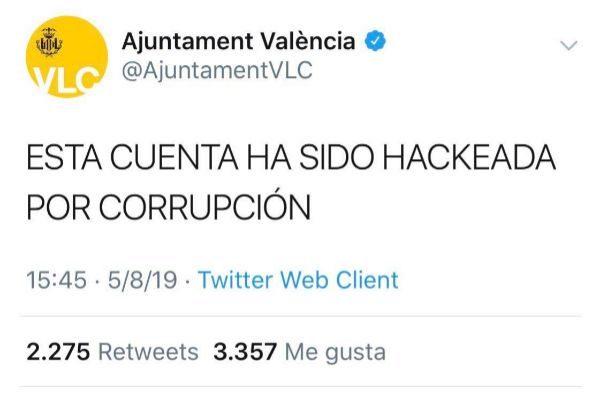 Captura del tweet que apareció en la tarde de este lunes en la cuenta oficial del Ayuntamiento de Valencia.