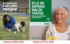 Imagen de dos campañas de la Junta, las de 2013 y 2019, en un montaje realizado en Twitter por  @rgl1970.
