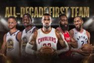 De izquierda a derecha: Curry, Durant, James, Harden y Leonard