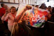 Marcha para pedir la libertad para el ex presidente brasileño, en Caracas.