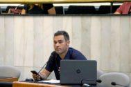 El portavoz de Compromís en la Diputación de Alicante, Gerard Fullana, en el pleno de organización que la institución celebró la semana pasada .