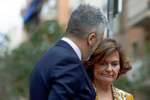 Carmen Calvo y Fernando Grande-Marlaska, en un acto contra la...